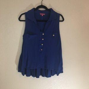 Anthro one September navy blue sleeveless top med